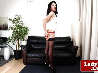 Classy Ladyboy Solo Spreading Her Tight Ass