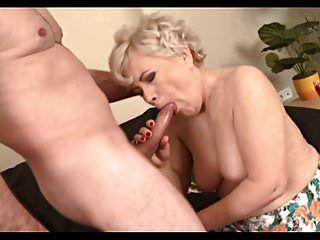 Horny Granny Sucks And Fucks