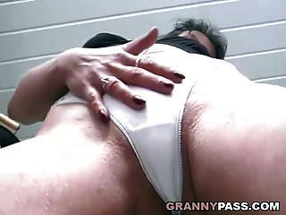 Granny Slut Masturbates With Banana After Pissing