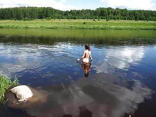 Nude Swim In Volga-river