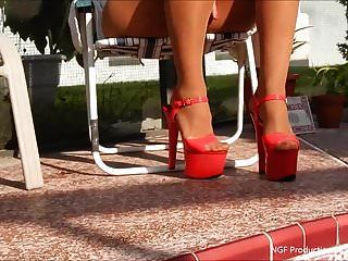 Smoking In Stripper Heels And Micro Shorts