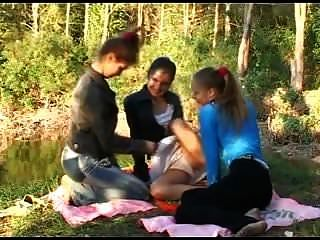 Three Skinny Beauties Moaning At A Pond