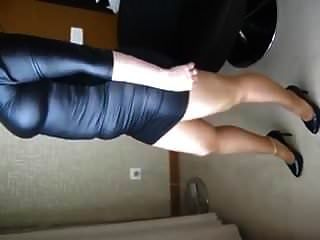 Wife In Leather Dress Pantyhose And Heels