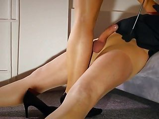 Horny Teacher Milf Footjob Jerks Blowing Stocking Squirt