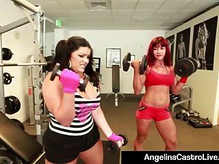 Bbw Angelina Castro Gets A Strap On Workout With Teacher!
