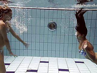 Iva And Paulinka Big Tits Teenis In The Pool