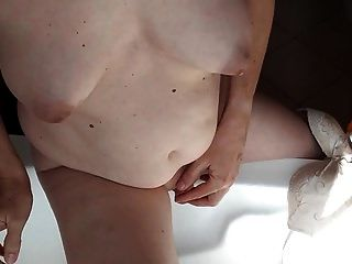 Mtf Transsexual Fondling Her Limp Penis
