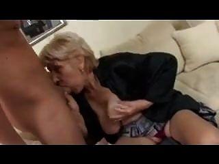 Blonde Granny In Stocking Fucks