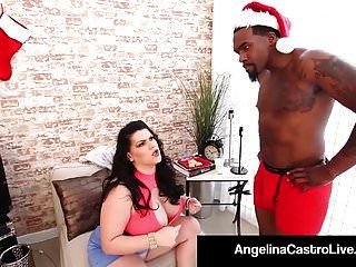 Cuban Bbw Angelina Castro Fucks Santa & His Big Black Cock!