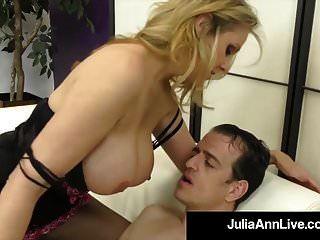 Stunning Blonde Milf Julia Ann Strokes Slave Cock With Feet!