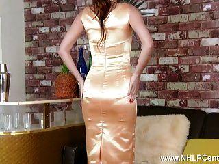 Brunette Strips Down To Retro Nylons Stiletto Heels Lingerie