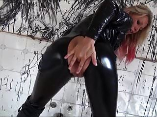 Slut With Blonde And Red Hair In Black Latex Cat Suit Fucked