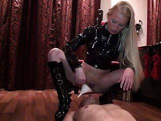 German Dominatrix Pissing In Slave