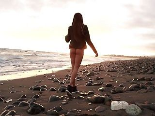 Public Beach Strip And Buttplug Tease