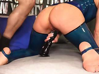 Slut In Blue Latex Ass Fucked And Creampie