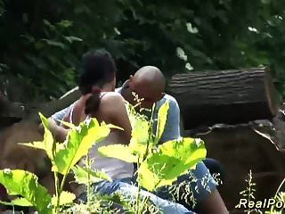 Horny German Couple Fucking Outdoor