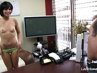 Pale Black-haired Beauty Sucking Cock And Riding Too.mp4