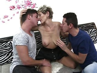 Hairy Mature Mother Sandwiched By Two Sons