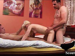 Petite German Teen Seduce To Fuck By Two Big Cock Stranger