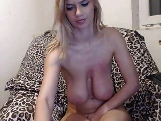 Slim Slut With Huge Boobs Does A Webcam Show