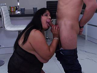 Mature Big Mother Seduced By Son On Kitchen
