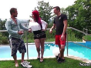 German Big Tit Redhead Tattoo Milf Seduce To Fuck By Two Boy