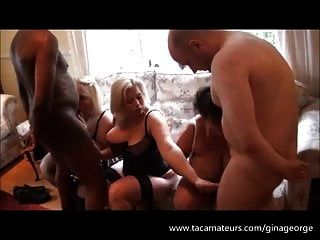 3 Busty British Milfs And 2 Horny Guys - Interracial