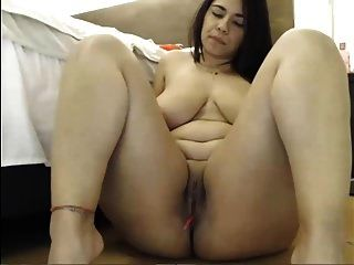 Busty Latina Babe Working On Her Pussy With The Dildo