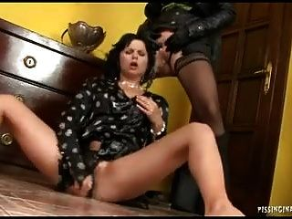 Blond And Brunete Lesbian In Fantastic Pee Play