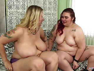 Two Bbws Play With Each Others Tits And Pussies