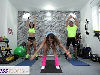 Fitness Rooms Fit Brunette Has A Creampie Workout