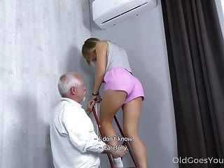 Old Goes Young - Cutie Rides An Old Dick Until Mutual Orgasm