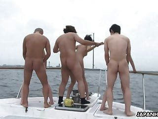 Group Fuck On A Boat With Beautiful Busty Asian Bitches