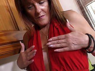 Mom In Red Masturbating On Her Kitchen