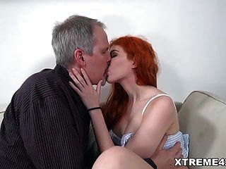 Russian Redhead Fucks An Old Man