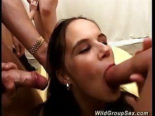 Busty German Teen First Bukkake Orgy