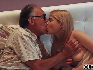 Nympho Sucks Grandpa Cock And Has Sex With Him In Her Bed