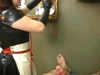 Rubber Nylon Nurse Handjob Glove Long Red Nails