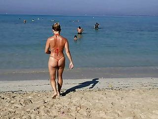 Orange Thong G String Sexy Micro Bikini Public Beach Milf