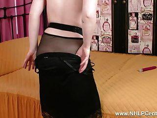 Blonde Finger Fucks Toys Dildo In Sheer Black Nylons Panties